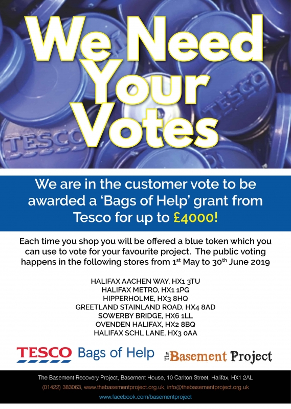 poster asking for votes for bags of help from tesco