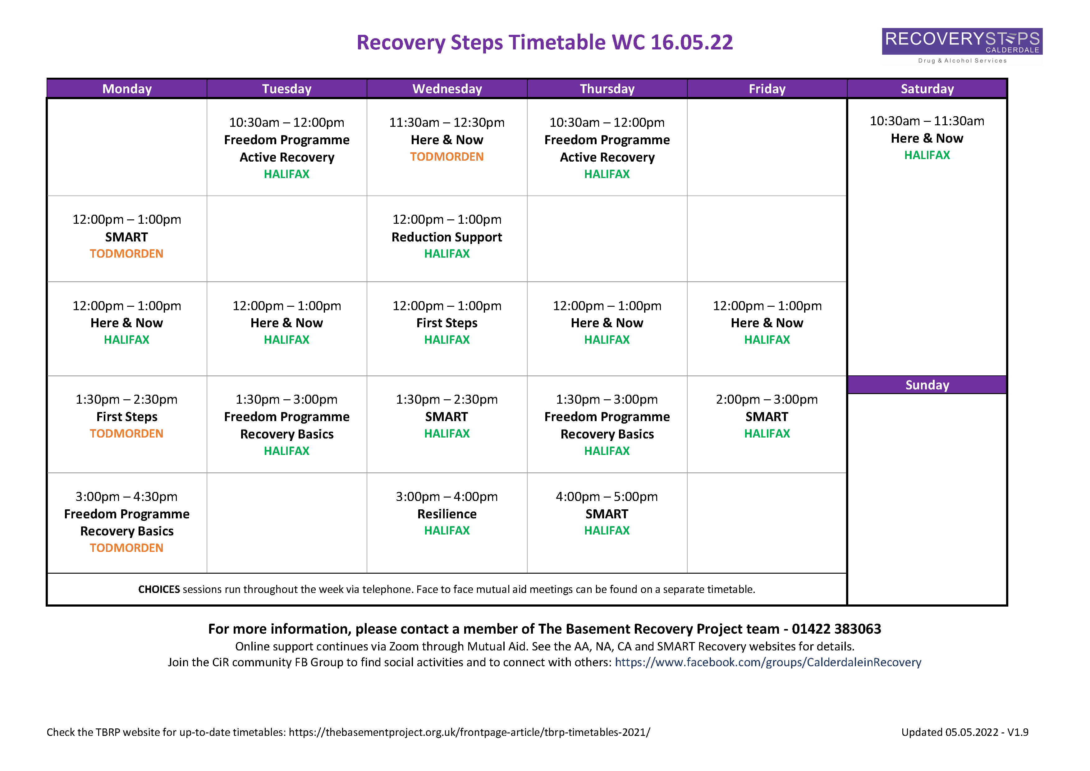 Recovery Steps Timetable