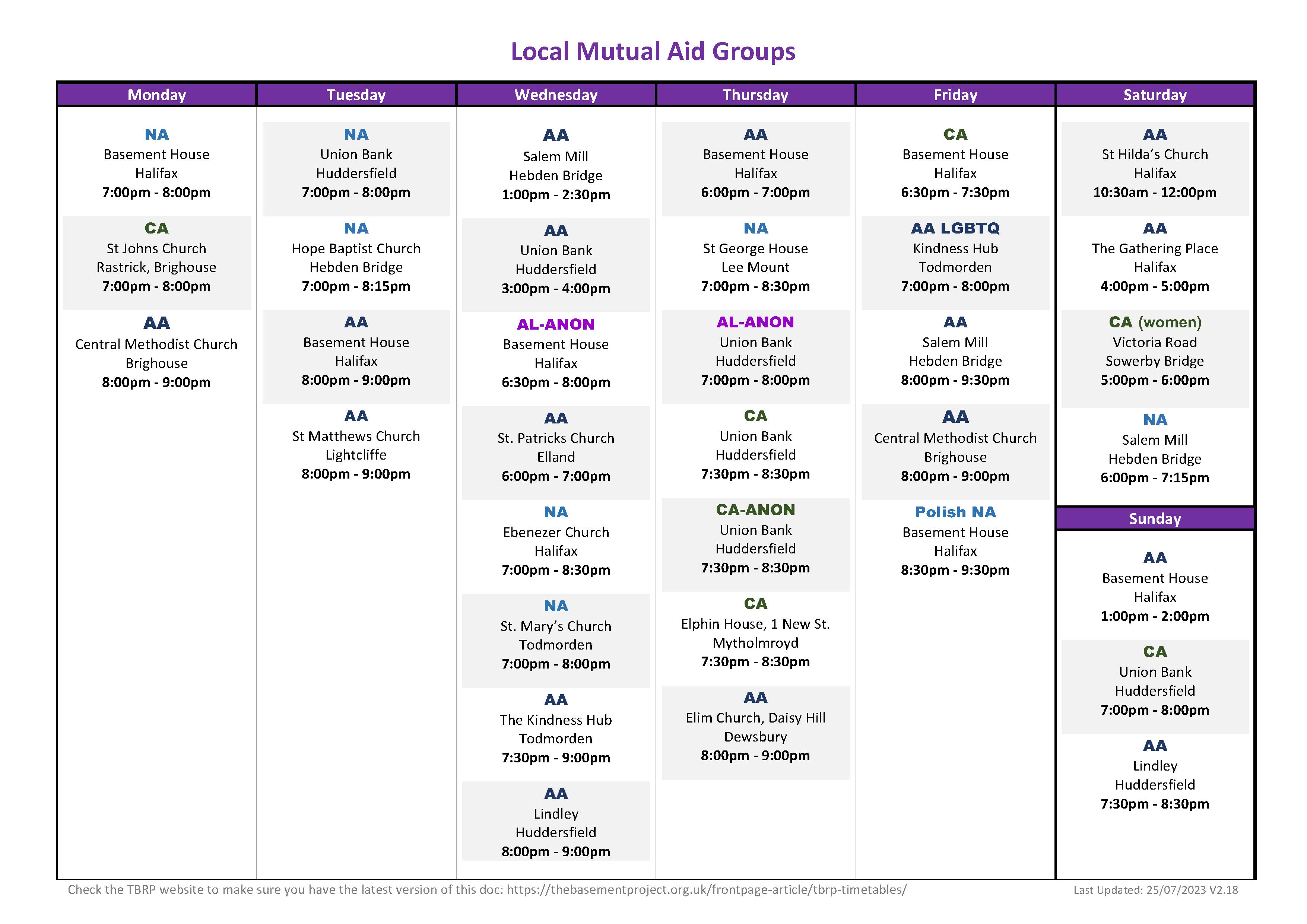 Mutual Aid Calderdale and Kirklees Timetable