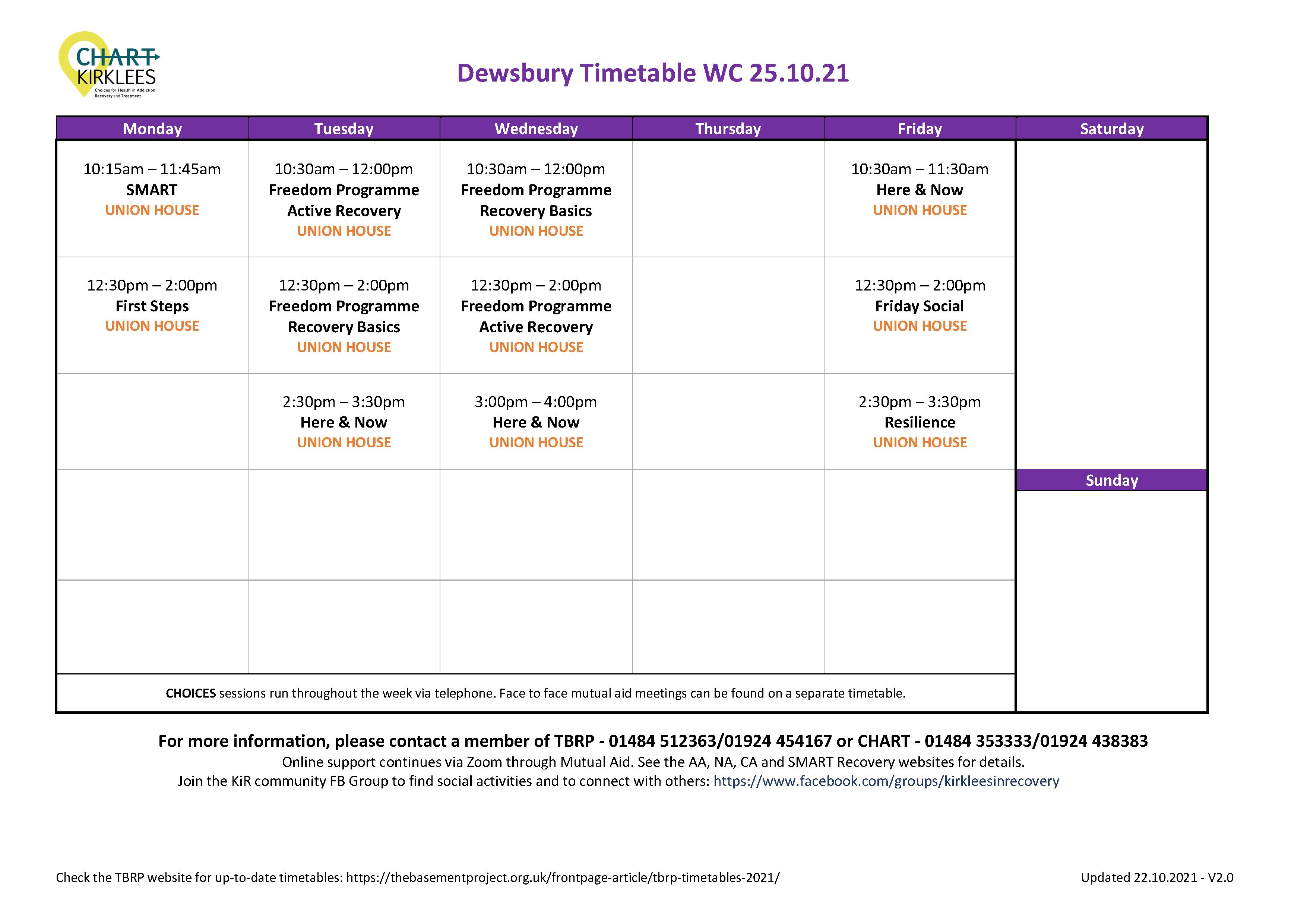 CHART Dewsbury Timetable
