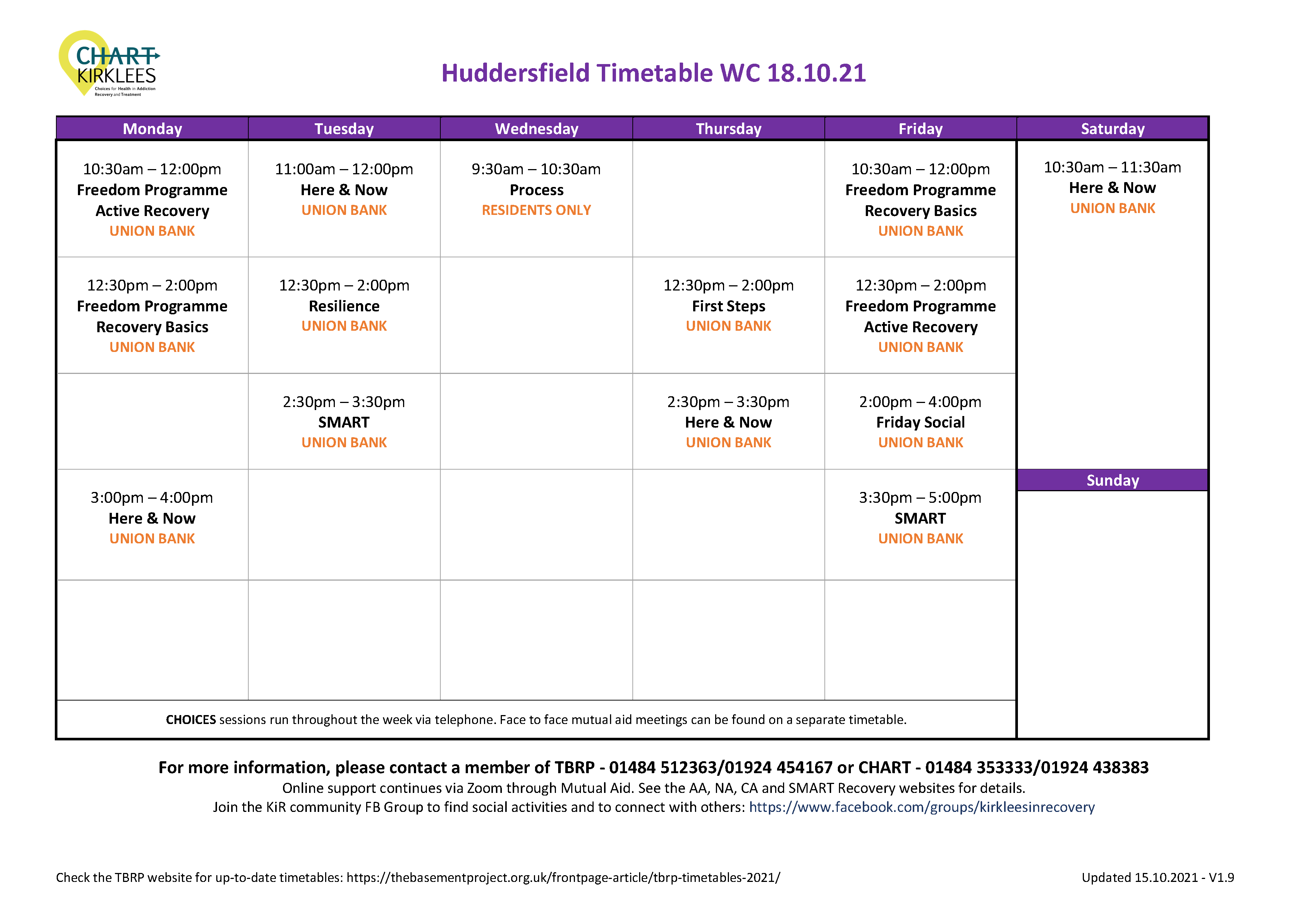 CHART Huddersfield Timetable