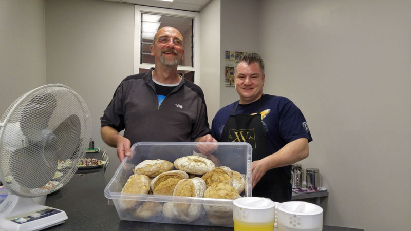 The Real Junk Food Project Dewsbury founder Paul Burr and volunteer Marcus Farrell with bread donated by Love Bread Brighouse