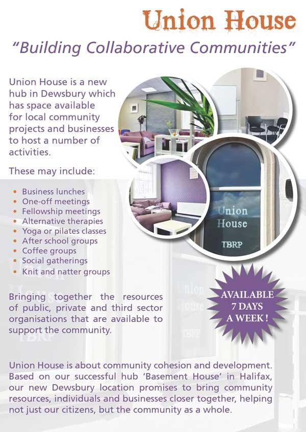 Union House Recovery Hub Dewsbury Leaflet Page 1