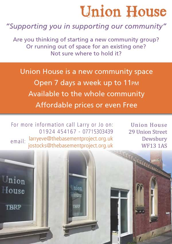 Union House Recovery Hub Dewsbury Leaflet Page 2