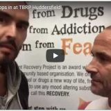 image of russell brand with larry eve, services manager, basement project huddersfield